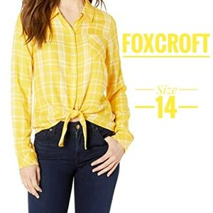 Foxcroft yellow Plaid collar button up top size 14